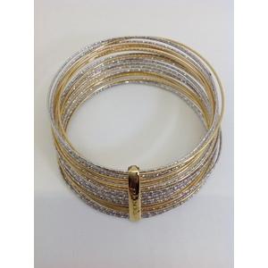 Bracciale Metallo Dorato E Bianco Con Cerchi Multifilo Diamantati