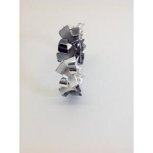 Braccaile Metallo Bianco E Nero Lucido E Satinato Con Elastico