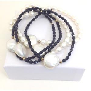 Bracciale Perle E Agata Ovale Nera