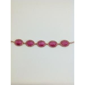 Bracciale Metallo Rose' Con Marcasite Rosa E Zirconi Rosa