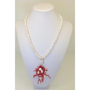 Collana Di Perla Scaramazza Con Centrale Di Perle E Corallo