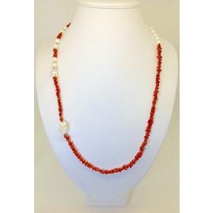 Collana Perla Con Corallo E Perla Barocca