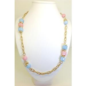 Collana Metallo Color Oro Con Supporti Rosa E Azzurro Lunga