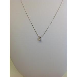 Collana Oro Bianco Con Punto Luce Di Brillanti Carati 0.17 Gvs1