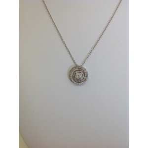 Collana Oro Bianco Con Centrale Cerchio Contornato Di Brillanti Carati 0.90 Gvs1