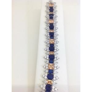 Bracciale Metallo Con Pietre Colore Blu Ambra E Zirconi