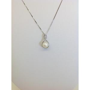 Collana Oro Bianco Con Ciondolo Perla E Zirconi Grammi 2.5