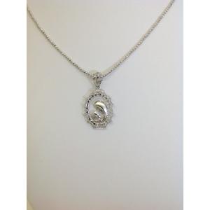 Collana Oro Bianco Diamantata Con Ciondolo Madonna E Lucida E Satinata Grammi 11