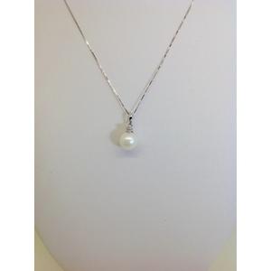 Collana Oro Bianco Con Perla Acquadolce Diametro 9 Con Zircone Grammi 2.9