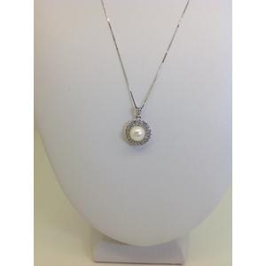 Collana Oro Bianco Con Ciondolo Perla Contornata Di Zirconi Grammi 4.5