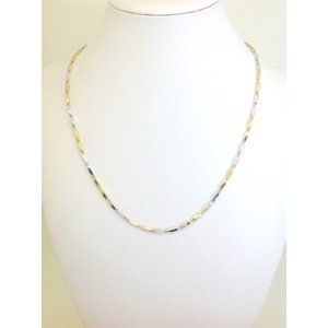 Collana Uomo Oro Giallo E Bianco Modello Risone Grammi9,2 Misura 50 Cm.