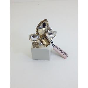 Anello Metallo Dorato Con Pietre Sintetiche Colore Ambra E Bianco Regolabile