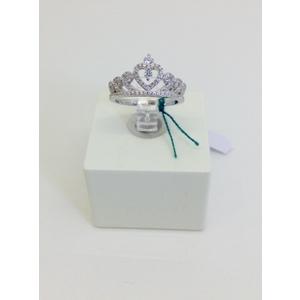 Anello Argento Corona Con Zirconi Misura 11.5