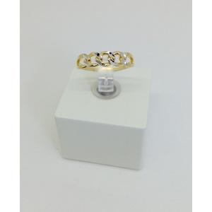 Anello oro bicolore bianco e giallo misura 18 grammi 2.3