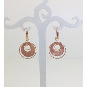 Orecchini metallo rose' con chiusura monachella pendenti cm. 5