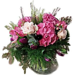 Bouquet Ortensie con Rose e fiori di stagione