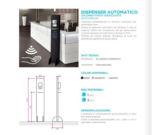 Colonnina con dispenser infrarossi   caratteristiche