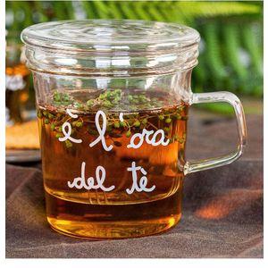"""Mug con Infusore in vetro borosicato """" E' l'Ora del Tè"""""""