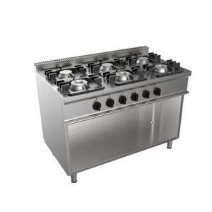 Cucina a gas a sei fuochi su vano 1200x700