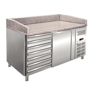 Banco pizza refrigerato ventilato una porta con cassettiera