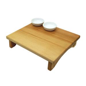B&M Tagliere con alzatina in legno di faggio massello completo di set 2 coppette in ceramica dim. Cm 30x25x7