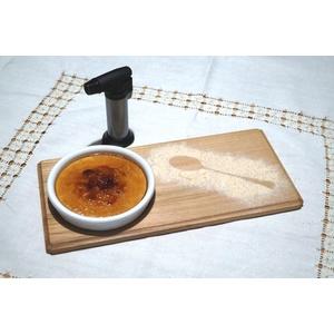 B&M Set di 4 Vassoi per Dessert al Cucchiaio in Legno di faggio massello con Ciotola in Ceramica mm.120 in Dotazione Dim. Vassoio cm 28x15x1.5 con cannello Ricaricabile