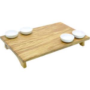 B&M Tagliere con alzatina in faggio massello. Completo di set 4 coppette in ceramica cm 45x29xh7