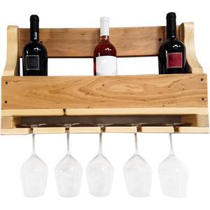 B&M Porta bottiglie da parete 5 posti con supporto per calici in legno di faggio massello cm 60