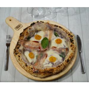 B&M  Tagliere in Legno di Pino da Portata per Pizza Dim. Ø 33 con Impugnatura