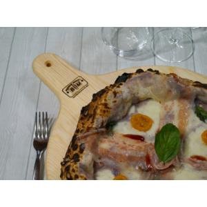 B&M Tagliere in Legno di Pino da Portata per Pizza Dim. Ø 50 con Impugnatura