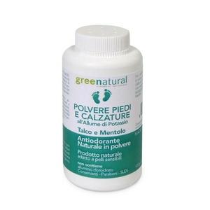 Greenatural Polvere Piedi & Calzature Allume Di Potassio - Talco & Mentolo