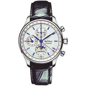PAUL PICOT GENTLEMAN CHRONOGRAPH GMT Calendar Moonphase 42 mm Automatic White Dial N4104/C