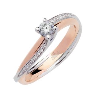 POLELLO SOLITARIO DI FIDANZAMENTO/ANNIVERSARIO Oro Bianco E Rosa Misura 14 con diamante 0.31 Centrale e 0,05 Contorno G color 2884BR3