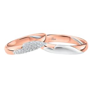 POLELLO FEDE NUZIALE (1pz) Oro Bianco E Rosa con Cuore Misura 24 3063URB