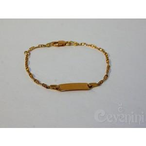 BRACCIALETTO BAMBINO/BAMBINA BATTESIMO/Nascita Cevenini Gold Selection In Oro Giallo con Piastrina per incisione Bimbo/Bimba