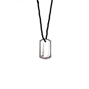 SALVINI CODE Collana Uomo Oro Bianco Cordoncino Nero con diamante 0.01 H 20023061B