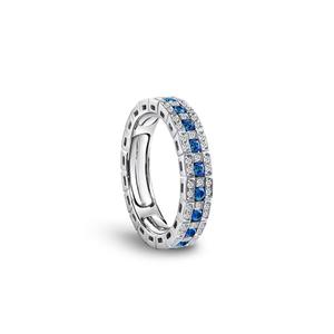 DAMIANI BELLE EPOQUE Anello veretta intera Oro Bianco Zaffiri e Diamanti Misura 13-15 autoregolante 20062802