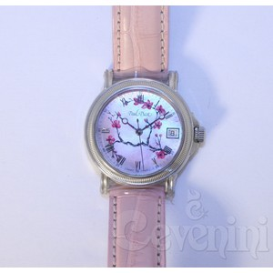 PAUL PICOT ATELIER LADY CHERRY BLOSSOM MOTHER OF PEARL LIMITED EDITION n°131 34mm LEATHER STRAP 4025.5NBS