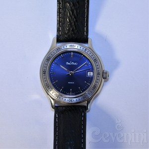 PAUL PICOT TIGER SHARK 36 mm BLUE DIAL Steel LEATHER SHARK STRAP DEPLO 4018Q-311/S3