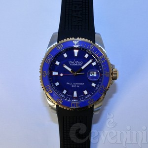 PAUL PICOT PAUL MARINER III Oro e Acciaio Blue Dial Automatic 42mm Blue Ceramic Bezel Natural Rubber 4352SRG-CN/C