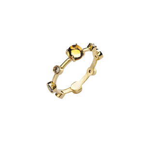 DAMIANI MOON DROPS ANELLO ORO GIALLO CITRINO E DIAMANTI BROWN Misura 15 20040722