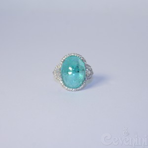 ANELLO PARAIBA CEVENINI UNIQUE ORO BIANCO 750‰ CON DIAMANTI