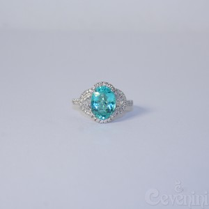 ANELLO PARAIBA OVALE FACETED CEVENINI UNIQUE ORO BIANCO 750‰ CON DIAMANTI