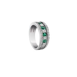 DAMIANI BELLE EPOQUE Anello Veretta Oro Bianco Smeraldi e Diamanti Misura 15 20039701