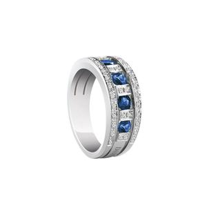 DAMIANI BELLE EPOQUE Anello Veretta Oro Bianco Zaffiri e Diamanti Misura 13 20039702