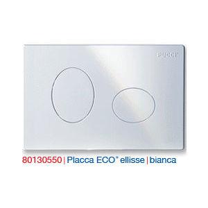 0550 PLACCA BIANCA 2 TASTI (cm 28x18) mod. ELLISSE PER CASSETTA INCASSO ECO PUCCI
