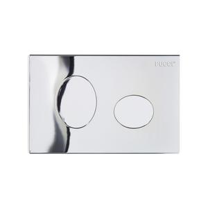 PLACCA ELLISSE CROMATA (cm28x18) sp.4,7 mm 2 TASTI COMPLETA DI TELAIO PER CASSETTA mod. ECO PUCCI