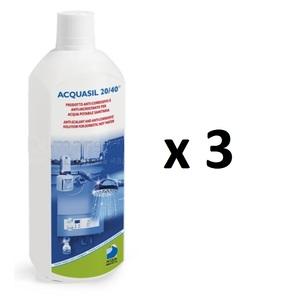 Liquido Acquabrevetti ACQUASIL 20/40® in flacone da lt 1 (confezione da 3 flaconi) per pompe dosatrici MiniDos e BravaDos