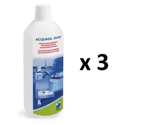 Liquido Acquabrevetti ACQUASIL 20/40® in flacone da kg 1 (confezione da 3 flaconi) per pompe dosatrici MiniDos e BravaDos