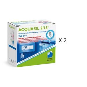 2 CONFEZIONI - Liquido Acquabrevetti ACQUASIL 2/15® in sacche da 250 gr cadauna (4 sacche per box) per pompe dosatrici MiniDUE